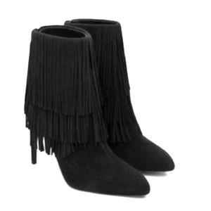 Zara Fringe Black Suede Boots